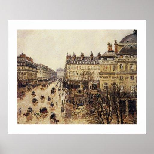 Place du Theatre Francais, Rain Poster