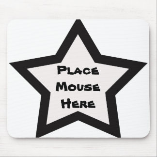 """Place mouse here"", black & white star Mouse Pad"