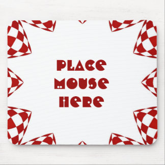"""""""Place mouse here"""" on red & white checked design Mouse Pad"""