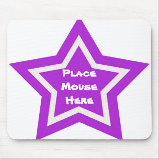 """""""Place mouse here"""", purple & white star Mouse Pad"""
