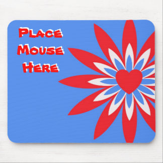 """""""Place mouse here"""", red, white blue flower Mouse Pad"""