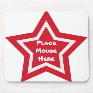 """""""Place mouse here"""", red & white star Mouse Pad"""