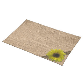 Placemat - Burlap and Rain-Drenched Sunflower