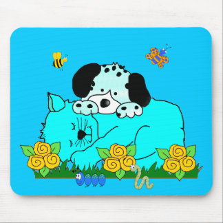 Placemat Kid's Puppy Dog Kitten Friends Sleeping 3 Mouse Pad