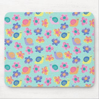 Placemat Mousepad Kid's Girls Little Flower Snails