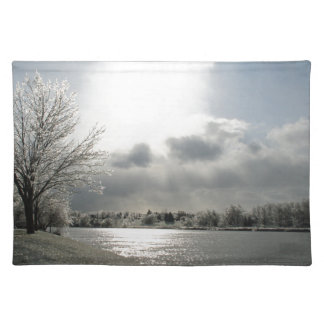 placemat with photo of icy winter landscape