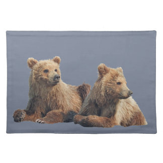 """Placemats  20"""" x 14"""" w/ grizzly bear cubs"""