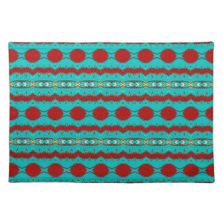 "Placemats 20"" x 14"" with Teal and Red Abstract"