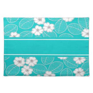 Placemats Teal Blue Aqua White Damask Floral