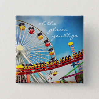 """""""Places"""" quote ferris wheel & roller coaster photo 15 Cm Square Badge"""