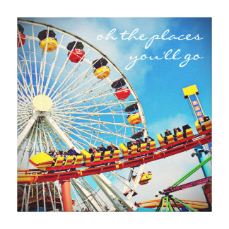 """Places"" Quote Ferris Wheel & Roller Coaster Photo Canvas Print"