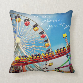 """""""Places"""" Quote Ferris Wheel & Roller Coaster Photo Cushion"""