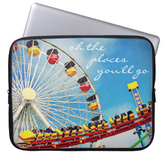 """Places"" Quote Ferris Wheel & Roller Coaster Photo Laptop Sleeve"
