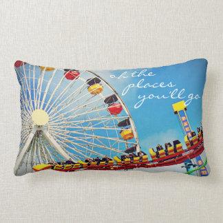 """Places"" Quote Ferris Wheel & Roller Coaster Photo Lumbar Cushion"