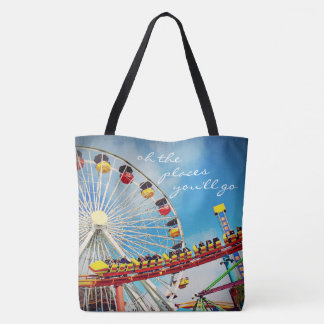 """Places"" quote ferris wheel & roller coaster photo Tote Bag"