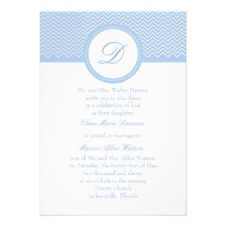 Placid Blue Chevron Monogram Wedding Invitation