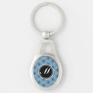 Placid Blue Star Kaleidoscope Silver-Colored Oval Metal Keychain
