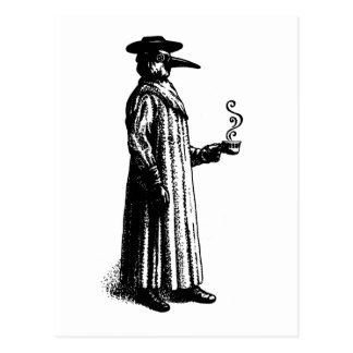Plague Doctor with a Hot Cuppa Postcard