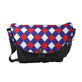 Plaid 1 Red White Blue Courier Bags