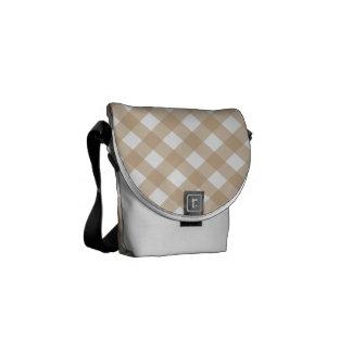 Plaid 1 Sand Messenger Bag