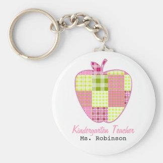 Plaid Apple Kindergarten Teacher Basic Round Button Key Ring