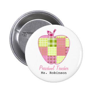 Plaid Apple Preschool Teacher Buttons