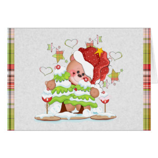 Plaid Bear Thank You Note Note Card