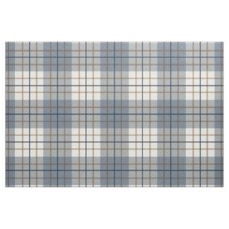 Plaid Big Pattern Blues Brown Cream Fabric
