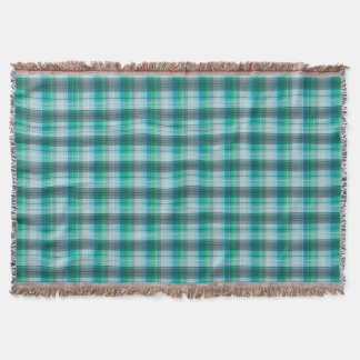 Plaid . Blue grey plaid . Throw Blanket