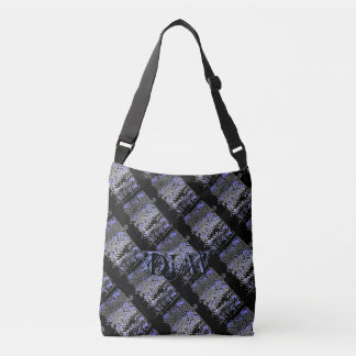 Plaid Blues and Greys with Black Personalized Crossbody Bag