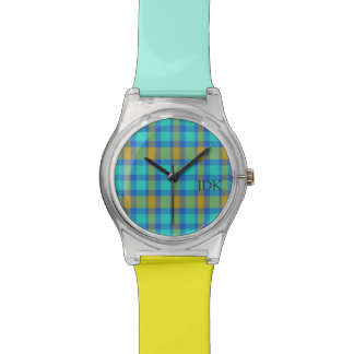 PLAID  | bright blue and yellow Wristwatch