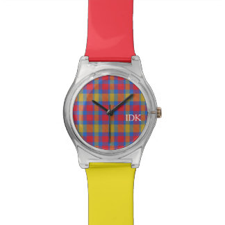 PLAID  | bright red and yellow Watch