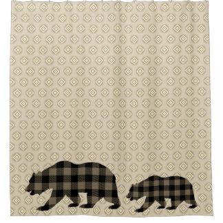 Plaid buffalo bears on diamond shape pattern shower curtain