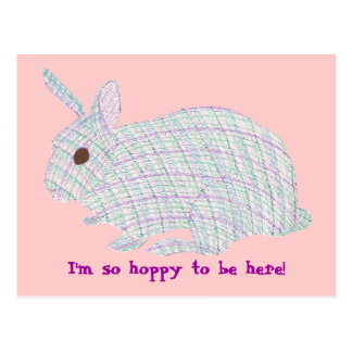 Plaid Bunny,  I'm so hoppy to be here postcards