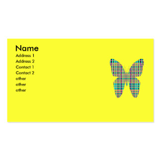 plaid butterfly pack of standard business cards