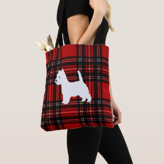 Plaid Canvas Tote with Westie