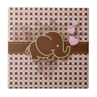 Plaid Checker Elephant Design | Pink Brown Green Small Square Tile