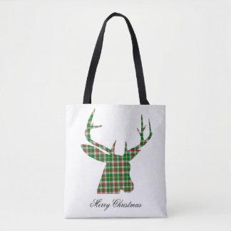 Plaid Christmas buck tote bag