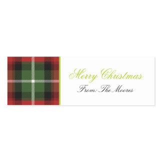 Plaid Christmas Gift Tag Business Card Templates