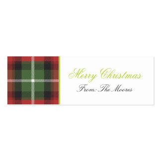Plaid Christmas Gift Tag Pack Of Skinny Business Cards