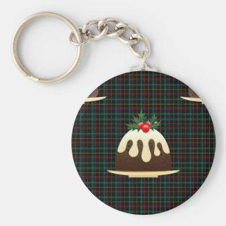 plaid christmas puddings key ring