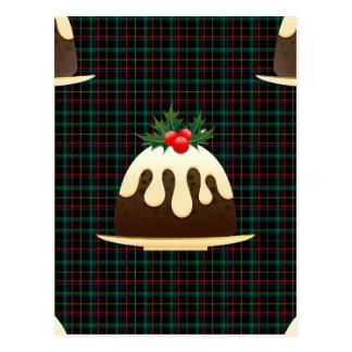 plaid christmas puddings postcard