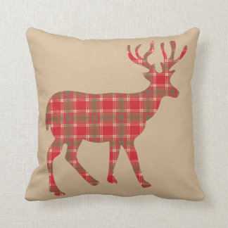 Plaid Christmas Reindeer Cushion