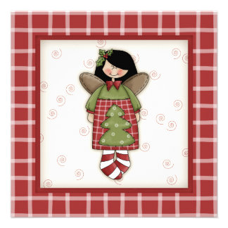 Plaid Clad Angel Fun Christmas Party Invitations
