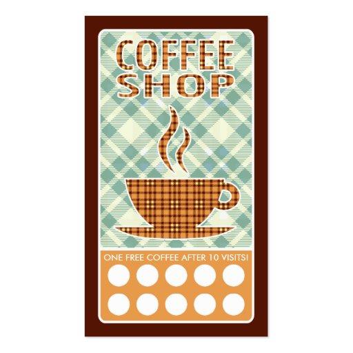 plaid coffee shop business cards