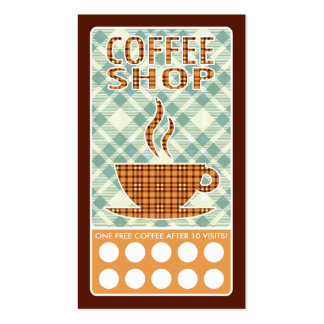 plaid coffee shop punch card pack of standard business cards