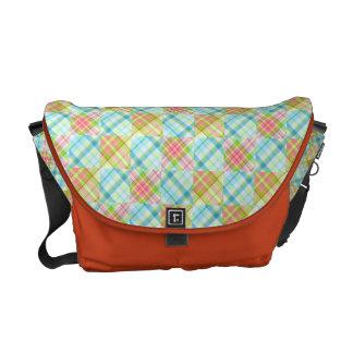 Plaid Collage Medium Size Messenger Bag