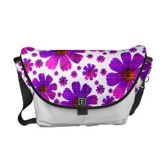 Plaid Cosmos Flowers Commuter Bags