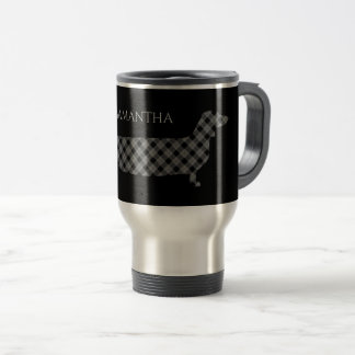 Plaid Dachshund on Black Travel Mug