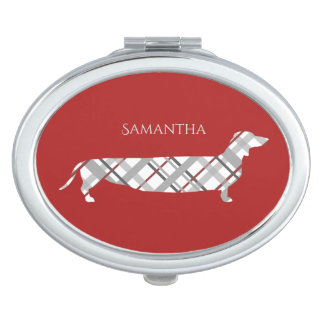 Plaid Dachshund on Red Compact Mirrors